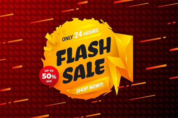 Priorità bassa di vendita flash con colore arancione e reticolo rosso delle percentuali.