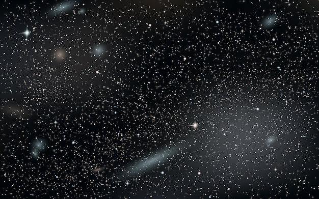 Priorità bassa di vettore del cielo notturno con stelle, nebulosa e galassie