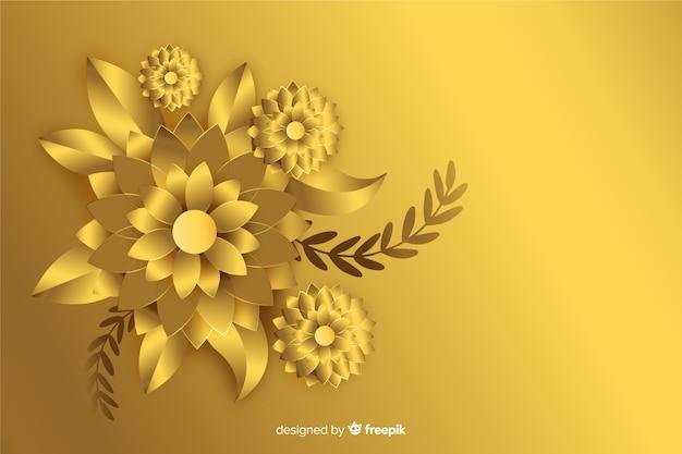 Priorità bassa dorata dei fiori 3d