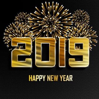 Priorità bassa dorata di nuovo anno 2019 con i fuochi d'artificio.