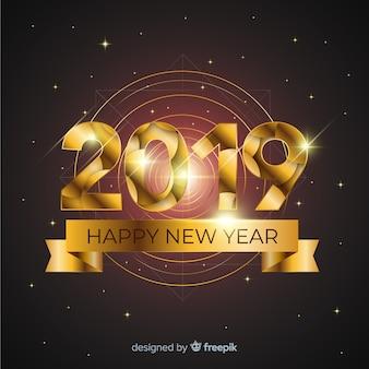 Priorità bassa dorata di nuovo anno 2019
