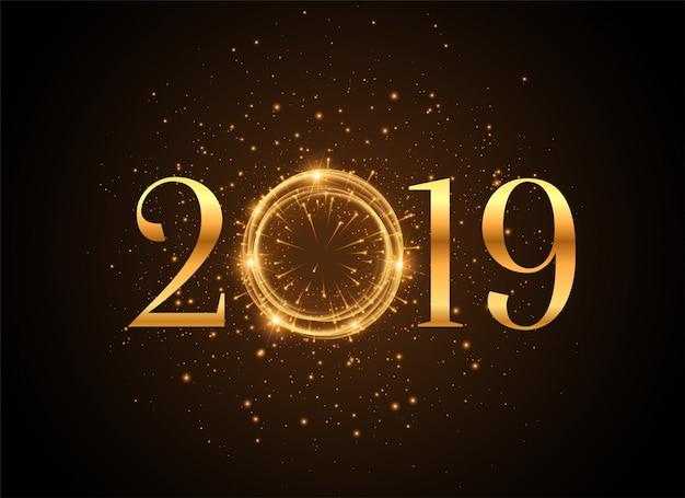 Priorità bassa dorata lucida di anno nuovo 2019 delle scintille