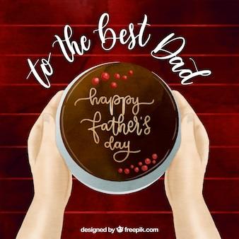 Priorità bassa felice di festa del papà con la torta squisita