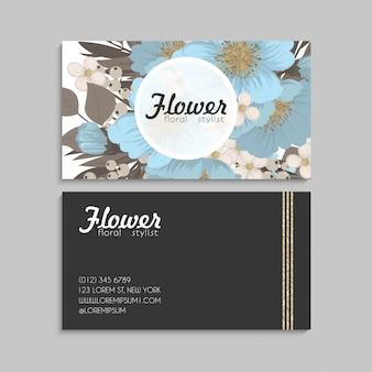 Priorità bassa floreale del bordo - fiori blu-chiaro
