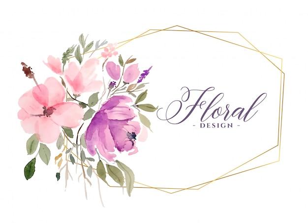Priorità bassa floreale del fiore bello dell'acquerello con cornice dorata