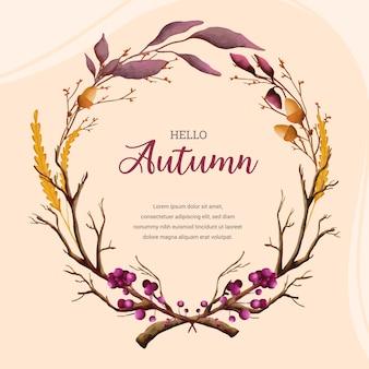 Priorità bassa floreale dell'acquerello di autunno caldo