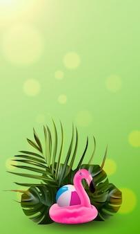 Priorità bassa floreale della palma e del fenicottero della giungla.