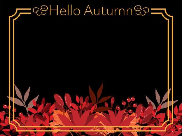 Priorità bassa floreale di autunno con ciao testo autunno.