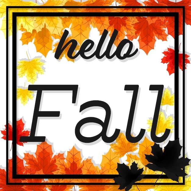 Priorità bassa floreale di autunno con ciao testo di caduta.