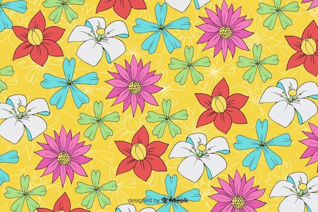 Priorità bassa floreale disegnata a mano variopinta