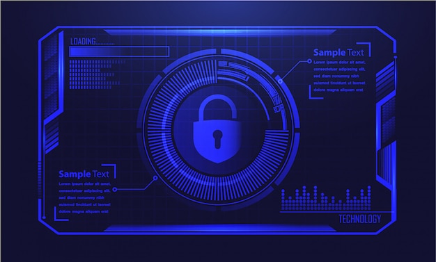 Priorità bassa futura di tecnologia del circuito cibernetico di hud blu