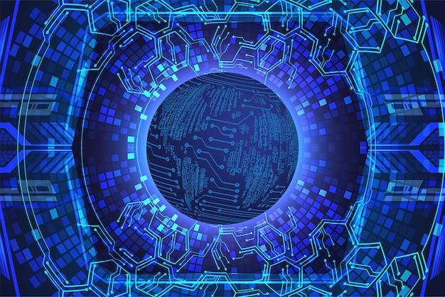 Priorità bassa futura di tecnologia del circuito cyber blu del mondo