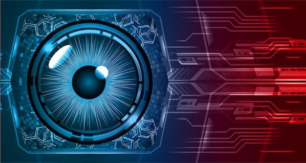 Priorità bassa futura di tecnologia del circuito cyber dell'occhio rosso blu