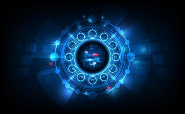 Priorità bassa futuristica astratta di tecnologia con il concetto dell'orologio e la macchina del tempo