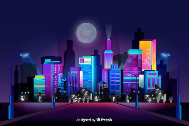 Priorità bassa futuristica dell'orizzonte della città