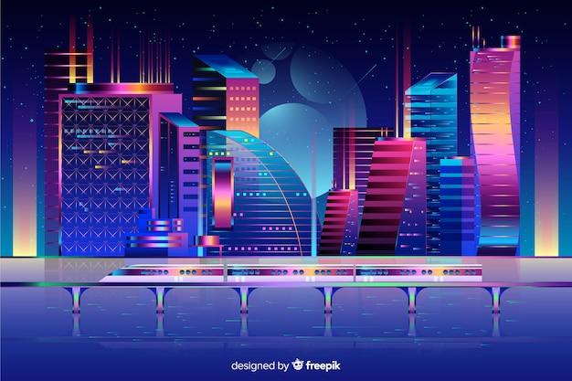 Priorità bassa futuristica della città di notte