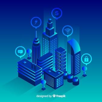 Priorità bassa futuristica della città isometrica