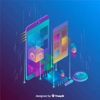 Priorità bassa isometrica del telefono mobile di gradiente 3d