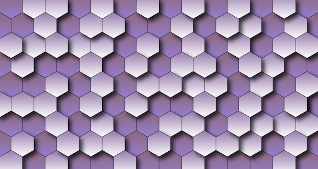 Priorità bassa luminosa viola della parete 3d di esagono