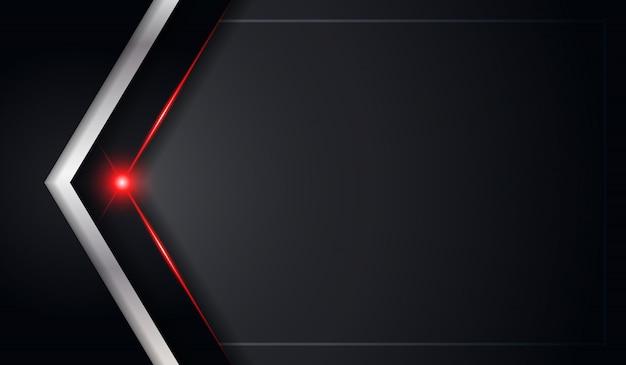 Priorità bassa metallica nera astratta della freccia con la riga lucida rossa