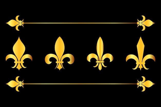 Priorità bassa nera degli elementi di disegno dei fleur de lys dorati di vettore