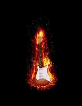 Priorità bassa nera della chitarra burning del fuoco