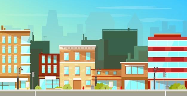 Priorità bassa piana di edifici di città moderna