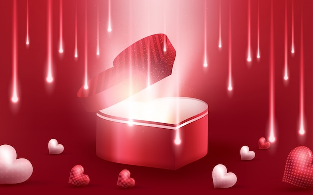 Priorità bassa realistica dei cuori rossi 3d con il giorno di biglietti di s. valentino felice dolce
