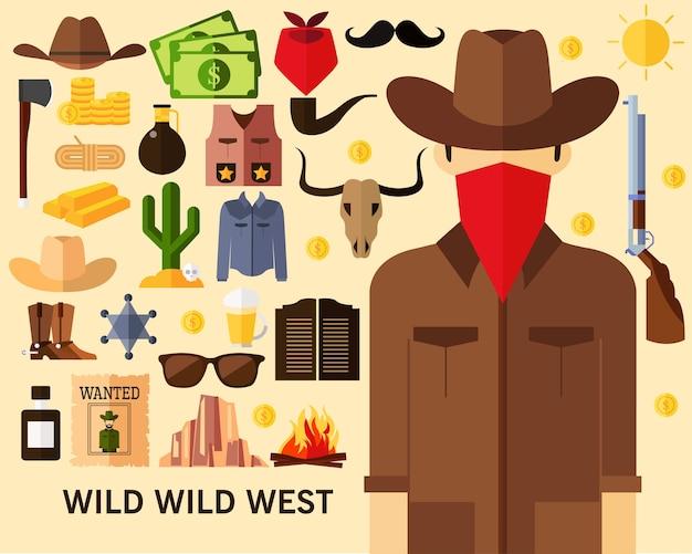 Priorità bassa selvaggia di concetto selvaggio ad ovest. icone piatte.