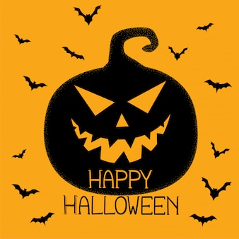 Priorità bassa spettrale della zucca e dei pipistrelli di halloween felice