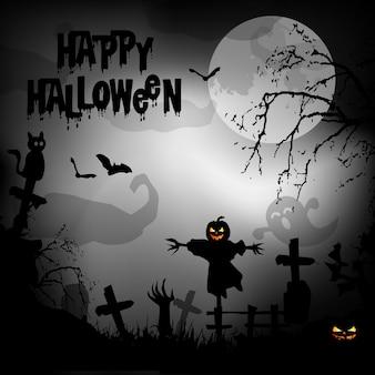 Priorità bassa spettrale di halloween con le zucche in un cimitero