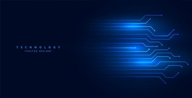 Priorità bassa tecnologica con lo schema delle linee di circuito nel colore blu