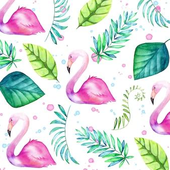 Priorità bassa tropicale dell'acquerello con fenicotteri e foglie