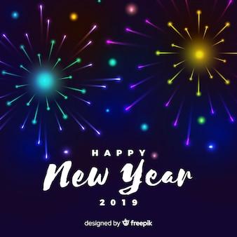 Priorità bassa variopinta del nuovo anno dei fuochi d'artificio