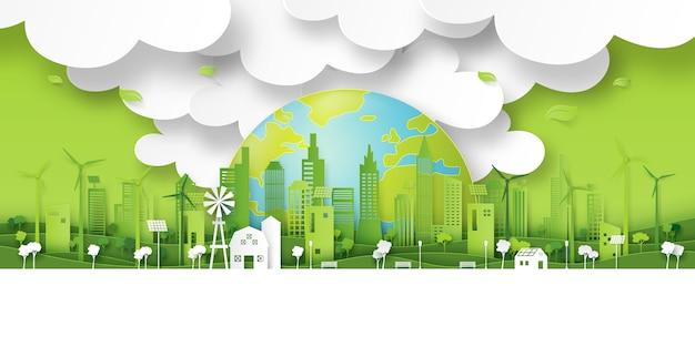 Priorità bassa verde di arte del documento della città di eco