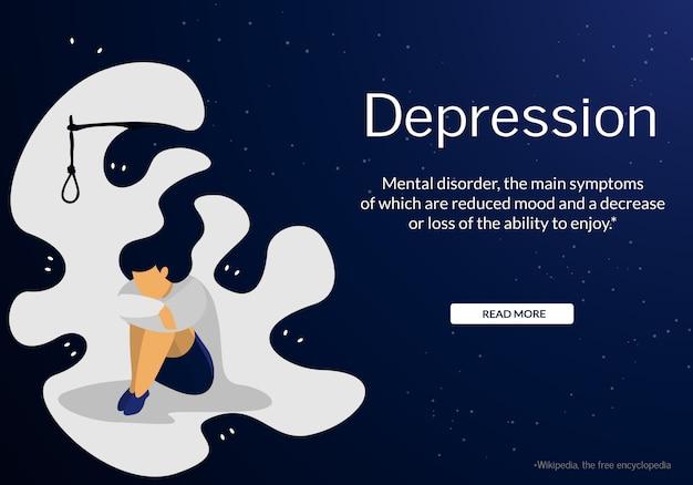 Problema di depressione di sofferenza della giovane donna ansiosa