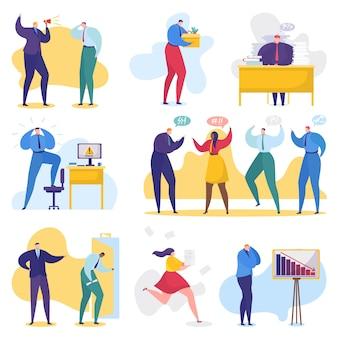 Problemi di lavoro e aziendali, conflitti in ufficio, uomini d'affari in condizioni di stress, risoluzione dei problemi insieme di illustrazione.
