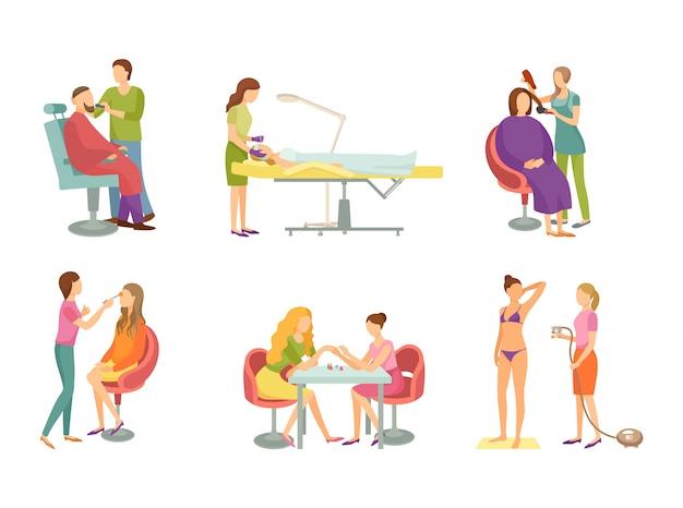Procedura della stazione termale nell'insieme dell'illustrazione del salone di bellezza