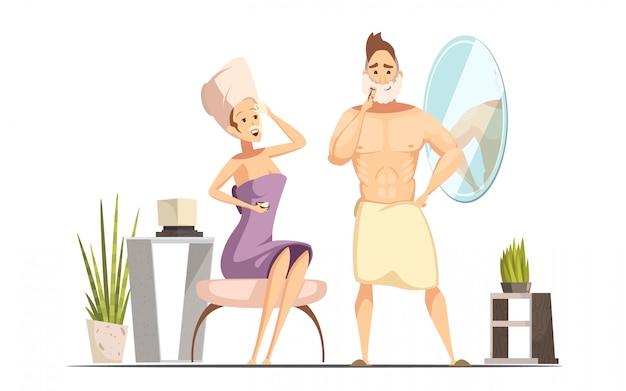 Procedura igienica di depilazione delle coppie sposate nel bagno della famiglia insieme al carretto bagnato dell'uomo di rasatura