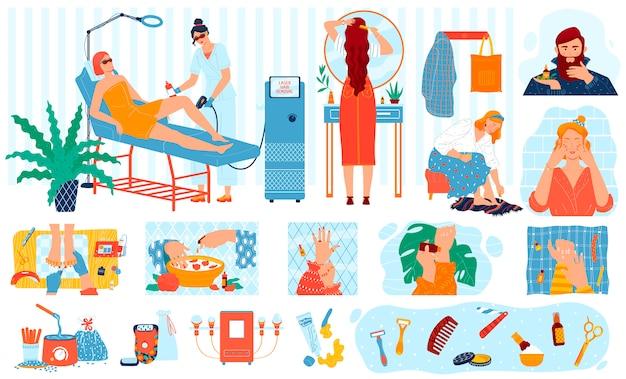 Procedure di bellezza, trattamento di cura della pelle, personaggi dei cartoni animati della gente di cosmetologia della stazione termale, illustrazione