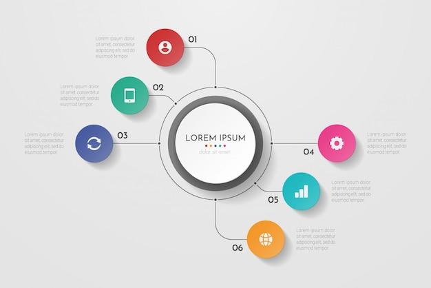 Processo aziendale di infografica con sei passaggi o cerchi di opzioni. visualizzazione dati. può essere utilizzato per il layout del flusso di lavoro, diagramma, banner, web design. illustrazione.
