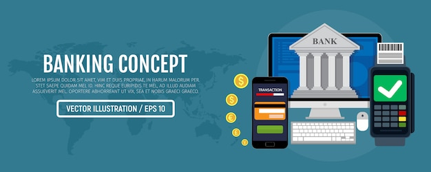Processo bancario online. banner mobile payment e mobile banking