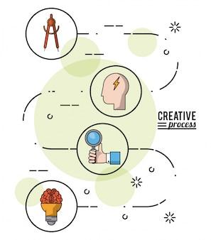 Processo creativo poster colorato con il modo di idea sviluppo