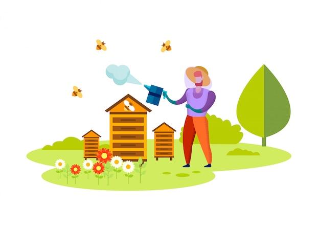 Processo di apicoltura, professione, miele eco food