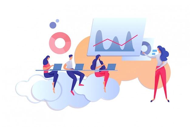 Processo di apprendimento. insegnante e studenti con laptop