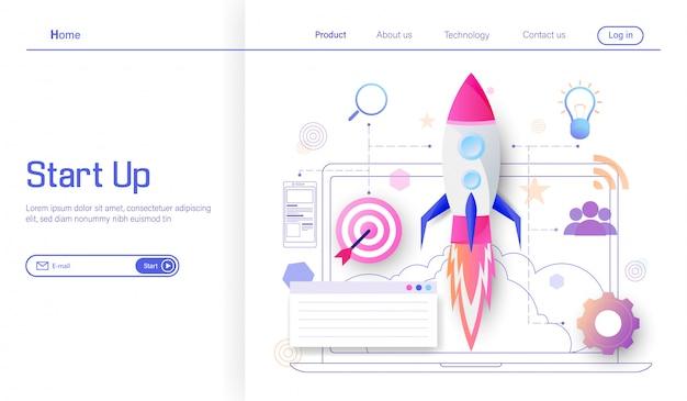 Processo di avvio del progetto di business e lancio di razzi spaziali per raggiungere il successo