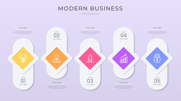 Processo di business infografica colore vibrante con effetto taglio carta, effetto pulsante, stile moderno e pulito.