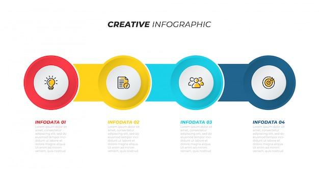Processo di business. layout del modello creativo con icone di marketing. cronologia con 4 passaggi, opzioni. illustrazione vettoriale