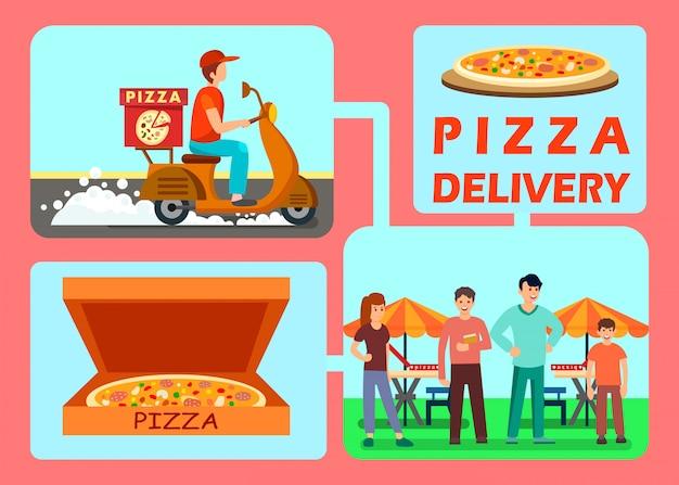 Processo di consegna degli alimenti con illustrazioni