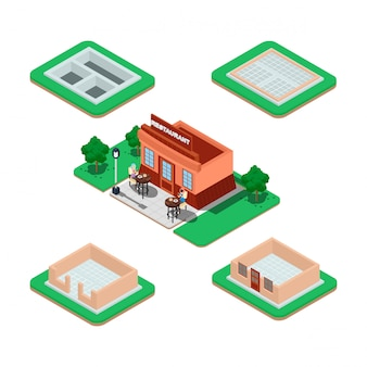 Processo di costruzione della casa isometrica.